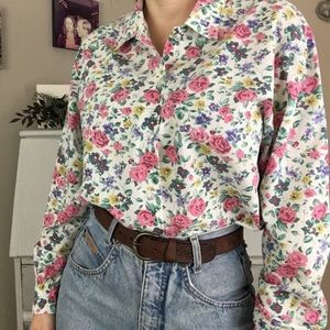 Vintage 80's Floral Pink | White Button Up Blouse